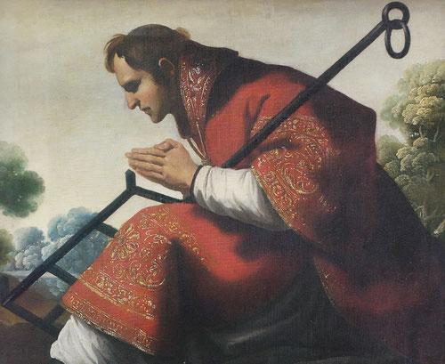 San Lorenzo1638,formaba parte del retablo mayor de la Cartuja de Jerez,a la dcha del sagrario,muestra al santo diácono en actitud de reverencia ante la Eucaristía.Su defensa de la fe frente al paganismo,murió quemado en parrilla,desafiando al poder romano