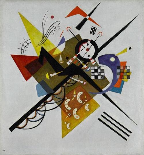 En blanco II.1923.Óleo sobre lienzo.El equilibrio de la composición se crea gracias por la asociación de líneas rectas,de trazos redondeados y formas como triángulos,dameros,círculos.El conjunto duro y rígido se centra en el cruce de 2 diagonales y arcos.