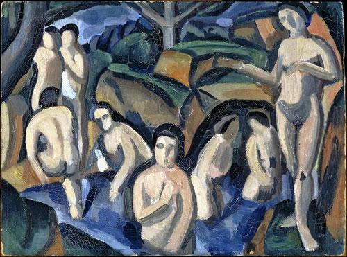 André Derain. Bañistas 1908- Museo Nacional de Picasso.Paris. El dibujo y la forma se apoderan de los fauves, con un fuerte impacto por la muerte de Cezanne y el descubrimiento de la escultura primitiva.