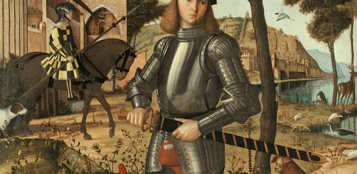 """Vittore Carpaccio.Joven caballero con un paisaje,1505.Óleo sobre lienzo 218x151cm.Museo Thyssen.Iconografia identitaria en relación al """"cartellino"""" que lleva firma y fecha y su riquísima lectura simbólica """"Antes morir que contaminarse"""" inscrito en latín."""