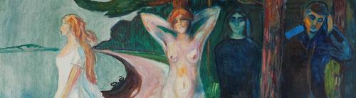 Detalle del lienzo, Mujer,de gran formato,óleo sobre lienzo,155x230cm pertenece al Munch-museet,Oslo.Del arquetipo al estereotipo de mujer nueva ante los avances sociales del SXIX.Todo un cliché narrativo del paso del tiempo,alegoría de la vida femenina.