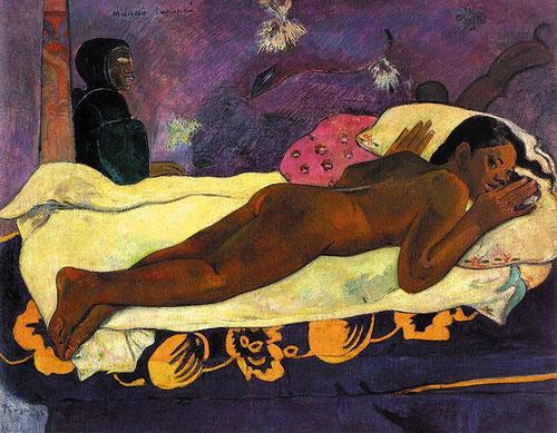 """P Gauguin, Manao tupapau.Quizá para envolver de credibilidad sus invenciones, titula sus pinturas en canaco, idioma mahorí.""""El espíritu de los muertos acecha"""""""