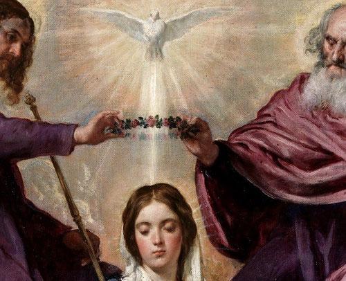 Detalle de la Coronación de la Virgen, 1641.Destinado para el oratorio de la reina Isabel de Borbón, esposa de Felipe IV, en el Alcázar,reproduce composición de Rubens.Gran equilibrio y serenidad.