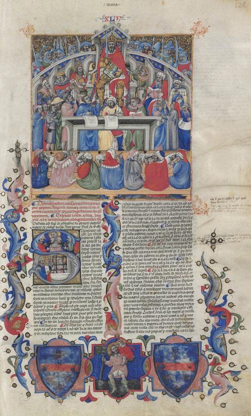 Esta exposición muestra solo el segundo volumen con miniaturas de Giacomo, maestro fecundo del arte boloñés. En el centro aparece San Agustín con la mitra episcopal dictando una lección con un libro abierto sobre el pupitre recoge sentencias filosófias.
