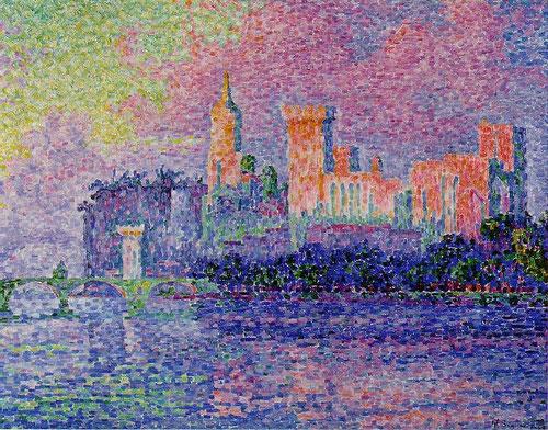 Paul Signac,Le chateau des Papes,1900 (El palacio de los papas) Pequeñas pinceladas idénticas,anchas y paleta luminosa protagonizada por rosas,púrpuras y azules.