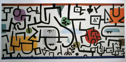 Paul Klee.Reicher Hafen1938.Pintor suizo realizó estudios clásicos en Berna y la Academia de Munich.Su obra fue condenada por los nazis.Forma intuitiva de trabajar el color,la estructuración del plano responde a ritmos variados.Todo un legado pedagógico