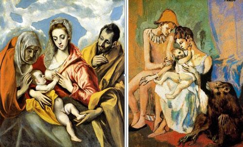 La Sagrada Familia con Sta Ana del Greco 1587-96,óleo sobre lienzo 127x106cm,Hospital de Tavera en Toledo es notoria en el artificio de los gestos o el sentido constructivo del guache de Pablo Picaso,Familia de acróbatas 1905, hoy en Göteborg.