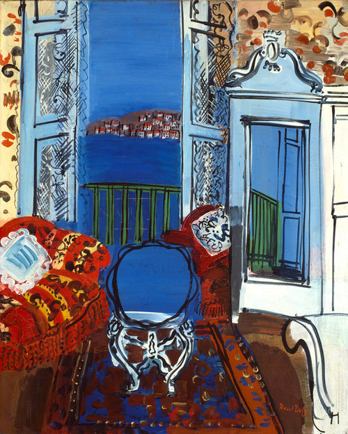 Ventana abierta, Niza 1928.Convertida en protagonista la ventana es un instrumento que permite borrar la frontera entre dentro-fuera/ interior-exterior, todo se organiza en torno a ella, objetos ornamentales, papel pintado, arabescos, armarios con espejo.
