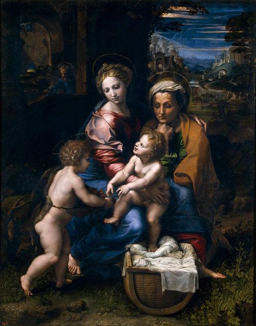 La Perla, Sagrada Familia con san Juanito,1519-20.Óleo sobre tabla de madera de chopo, 147x116cm.Museo del Prado.