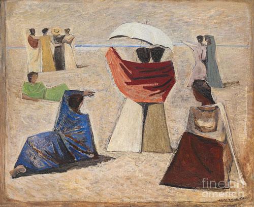 """Massimo Campigli, con estas """"Mujeres de marineros"""" 1934, nos dan nuevamente la espalda, esperando que sus maridos vuelvan a casa...parece haberse detenido el tiempo, y la técnica utilizada, aún lo intensifica mas."""