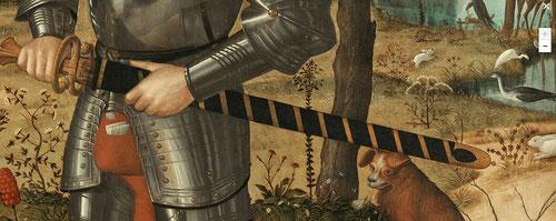 Detalle del que se dice Francesco Mª della Rovere,III Duque de Urbino, pero según aportaciones científicas es la alegoría del héroe muerto a punto de desenvainar la espada con su armadura de la Orden del Armiño, actitud inquietante como el perro astuto...