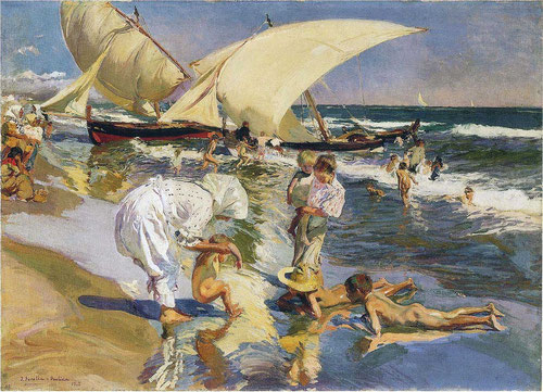Sorolla.Playa de <Valencia.Luz de la mañana.1908.Óleo sobre lienzo.77x106cm.The Hispanic Society of Amarica,Nueva York.
