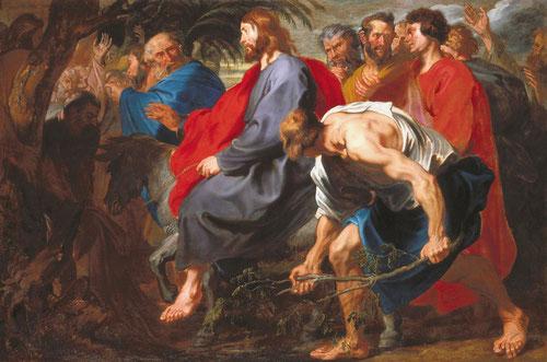 Van Dyck,Jesús entra en Jerusalén1617,Indianápolis.Se ajusta fielmente a la narración,evangelio Mateo 21,6-9.Su firme avanca contrasta con la agitación de los discípulos,multitud que aumenta el espacio,animado por la expresividad y gesticulación de manos.