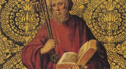 Óleo y pan de oro sobre tabla,58x70cm.San Pedro de Juan de Nalda, activo en Burgos y Palencia 1493-1505.Fondo dorado que simula un rico brocado y personaje con su atributo iconográfico,las llaves.
