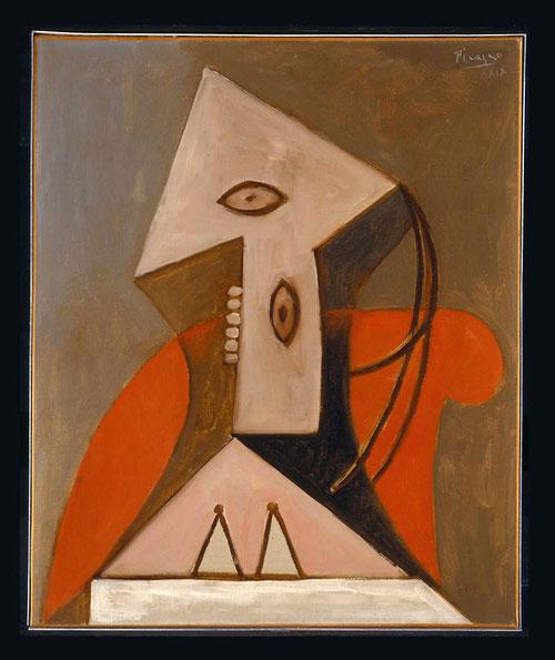 Mujer en un sillón rojo 1929.55x46cm.Museo Picasso Málaga.