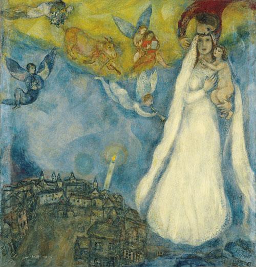 """Marc Chagall,es judío ruso.Se acerca con respeto al cristianismo, le impacta la figura de la Virgen. En 1938-42 pinta esta """"Virgen de la Aldea"""".Estilo pictórico expresivo y colorista vinculado a sus experiencias vitales y religiosas.Museo Thyssen."""