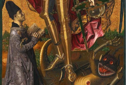 San Miguel Triunfante sobre el demonio con el donante Antoni Joan.1468.Londres National Gallery.San Miguel según el Apocalípsis descarga un golpe mortal de su poderosa espada.Mantiene la compostura el donante Andoni Joan arrodillado a sus pies.