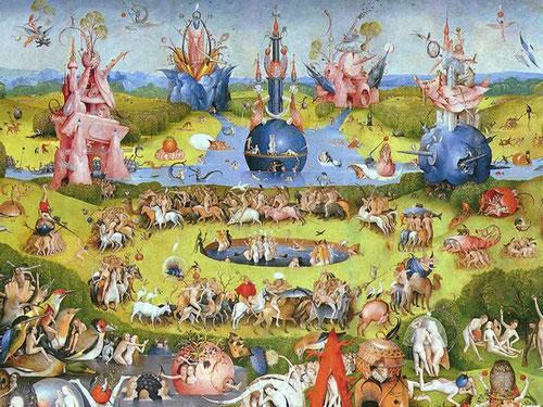 Detalle de tabla central del Jardín de las Delicias.1490.Fascinación por una vegetación maravillosa y fantasmagórica,flora natural-artificial de colores vivos,un falso paraiso donde la humanidad sucumbe al pecado de la lujuria y se dirige a la perdición.