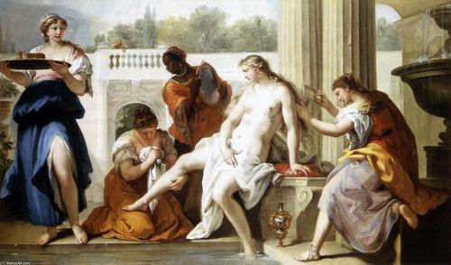 Sebastiano Ricci.Betsabé en el baño,1724. Cuenta el libro de Samuel en la Biblia que paseando el rey David divisó a una mujer bañándose, acontecimiento que según la fantasía condujo a un amor pecaminoso. Representa una transición entre el Barroco y Rococó