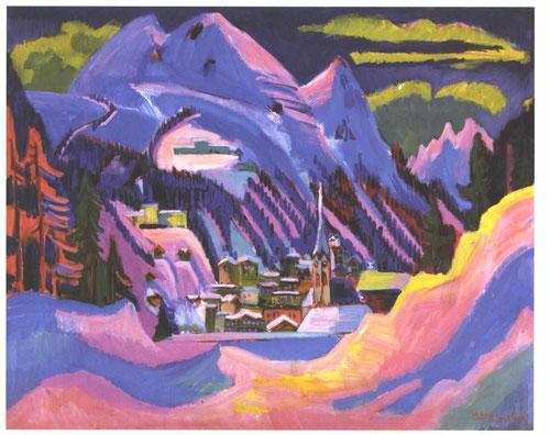 Ernst Ludwig Kirchner.Davos en invierno.1923.Principal impulsor del grupo expresionista alemán,se movilizó durante la guerra mundial, y tras una fuerte depresión, aislado en Davos se suicidó en 1938.