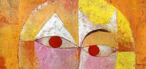 Detalle de Paul Klee.Senecio,1922.Pintor suizo en 1920 ingresó en la Bahaus de Weimar como profesor,conoció a Kandinsky,su lectura de los clásicos, Leonardo,Goya,Rembrandt,Cézanne y una vida de recogimiento espiritual íó como resultado una prolífica obra.