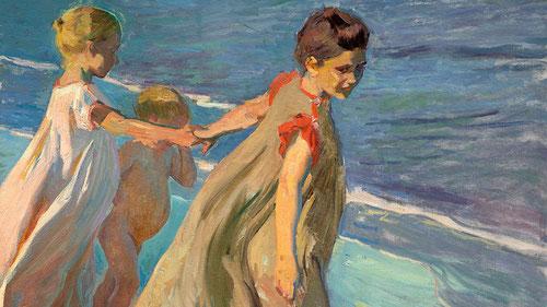 Una de las obras más importantes de Sorolla es la gran composición de Verano,este lienzo es un estudio preparatorio 1904.Resuelto el recurso que da una gran inmediatez a la escena,con punto de vista alto.Estatuaria griega con anaranjados , rosas y azules.