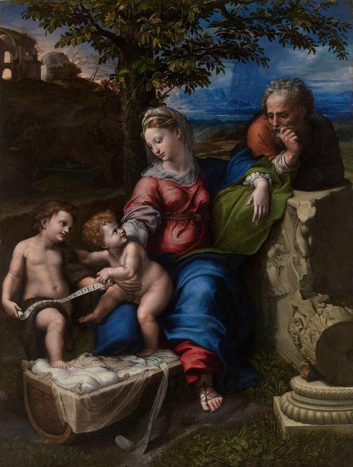 """Sagrada familia del roble. Giulio Romano 1518-20.114x110cm..óleo sobre madera.Inscrito en la filacteria. """"Ecce Agnus Dei"""" Museo del Prado, Madrid."""