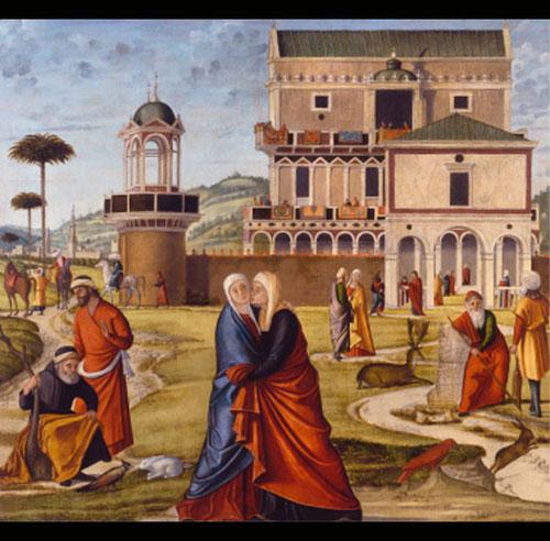 """Carpaccio """"La Visitación"""". Óleo sobre lienzo.128cmx 137cm. Galleria Franchetti, Venecia."""