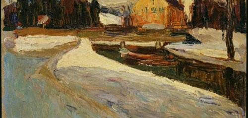 """Schwahing,sol de invierno,1901.Óleo sobre cartón entelado.23x32cm.Legado Nina Kandinsky.Moscú fuente de inspiración,íntima añoranza de su patria""""El sol derretía en una sola mancha transformando Moscú en una sola alma en vibración"""""""