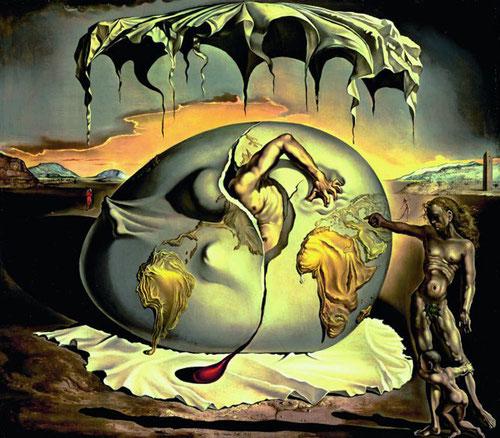 Dalí,Niño geopolítico contemplando el nacimiento del hombre nuevo,1943..Una vez más el mundo intrauterino del huevo,pintado con los más finos colores