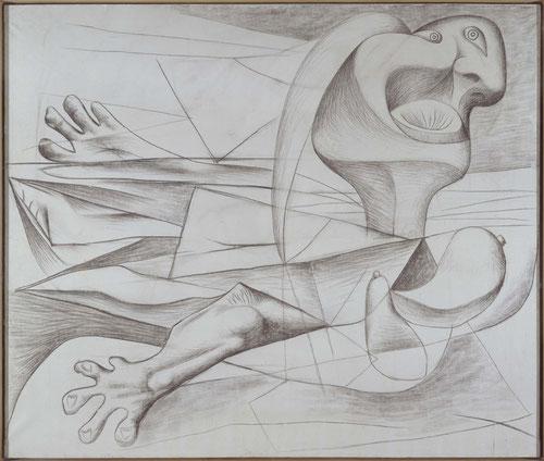 La nadadora 1934. Carboncillo sobre lienzo.182x216cm.Museo Nacional Centro de Arte Reina Sofía.