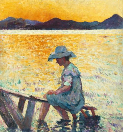 Henri Manguin. Saint Tropez, le coucher de soleil 1904.Colección particular. Su contribución al grupo fue activa como promotor junto a Matisse y Dérain, cursó estudios académicos de dibujo.Fascinado por la playa de les Graniers pintó este cuadro.