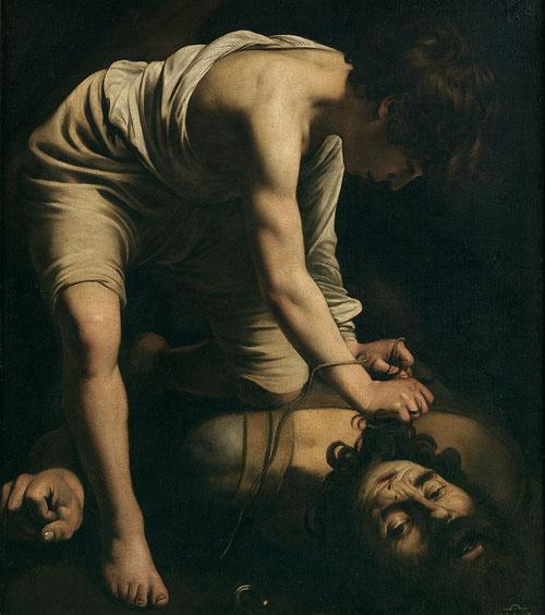David vencedor de Goliat,1598-1599.Óleo sobre lienzo,110x91cm.Lo convierte en el primer cuadro que conocemos de Caravaggio con un tema del Antiguo Testamento.(Samuel 1:17-49.David el humilde pastor se enfrenta al filisteo.