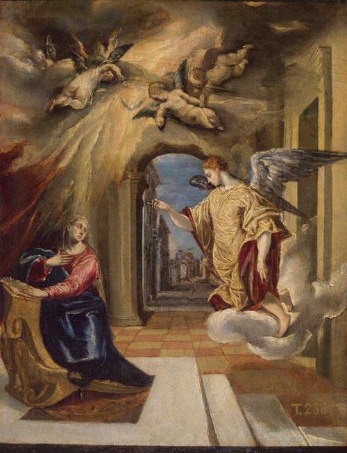 Anunciación.El Greco(1541-1614).26x20cm.Museo de la Trinidad.Cuadro de devoción por excelencia,adquirido en 1868. Obra maestra del pintor de la que existe copia en grandes dimensiones.