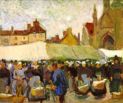 Dufy,Día del mercado en Falaise.El fauvismo le ofrece más libertad cromática captando perfectamente el ambiente de mercados, fiestas populares, la pesca, vida del muelle..enclaves preferidos de su Normandia natal.