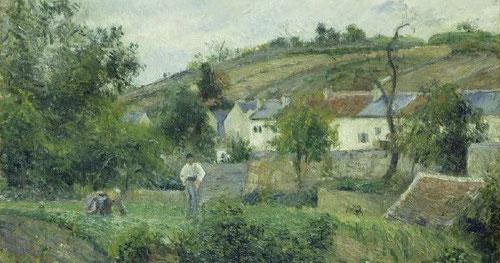 """Pisarro,""""humilde y colosal"""" como le llamaba su amigo Cézanne, es figura fundamental del impreionismo.Lienzo bucólico y silencioso del paisaje de Pointoise."""