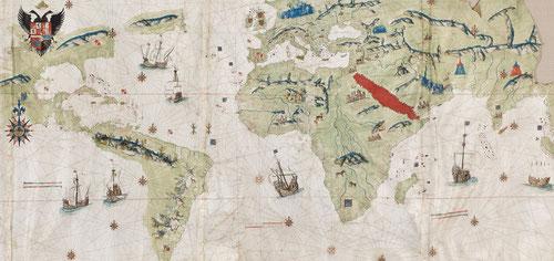 Mapamundi de Giovanni Vespucci,Sevilla 1526.Una de las cartas nauticas más asombrosas de la era de los descubrimientos.Fue designado piloto mayor d la Casa de la Contratación de Sevilla.