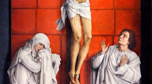 Las tres figuras situadas en un escenario nada común se presentan como si fueran imágenes vivientes vestidas de un blanco inmaculado.El paño de pureza aflojado en el extremo izquierdo subraya la conexión entre Cristo y la Virgen.