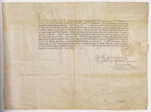 Carta de Isabel I de Inglaterra a Felipe II, carta protocolaria para intercambio de embajadores.