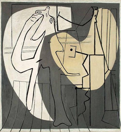 El pintor y su modelo 1927,París..Teheran Museum.Mujer sentada,mujer echada,ante el espejo..variaciones diversas, que tras la Segunda Guerra Mundial volverán a tener protagonismo.