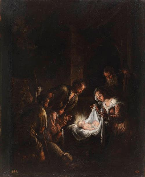 Jacopo Bassano.Adoración de los pastores.1580.Óleo sobre tabla.60x49cm.Cuadro de devoción.
