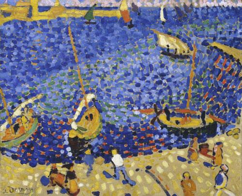 """Andree Derain. Barcos en Collioure 1905.Dusseldorf.  Un lugar que descubre por la belleza del paisaje,impregnado en plena naturaleza con actividad pesquera y vitícola, se instala en el Hotel de la Gare.  Él mismo escribe """"magia del cielo siempre azul"""""""