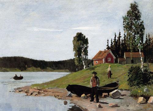 """Ensenada con bote y casa 1881.37x51cm.Museo Thyssen.""""Iba a buscar mi caballete,lo instalaba y pintaba el cuadro imitando la naturaleza""""Uno de los primeros paisajes pintados al aire libre."""