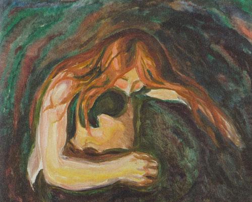 Mujer vampiro 1916-18 personifica una mujer perversa que atrapa al hombre en un mordisco mortal mientras le envuelve con su melena.Mujer claramente dominante en aspecto psicológico.Dualidad del amor-dolor.