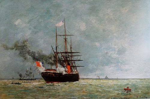 Eugène Boudin.El Havre.Barco en alta mar 1866.Óleo sobre lienzo,30x46cm.Colección privada. Pintó tambien pequeñas escenas del Puerto de gran sencillez,tras su beca en París volvieron a ser objeto de interés.Luminosidad y luz de atardecer.