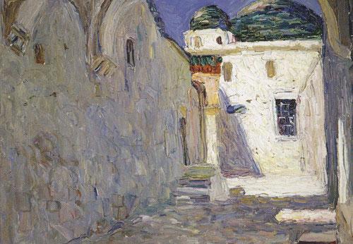 Calle de Túnez,1905.Óleo sobre cartón entelado.24x32cm.Legado Nina K.Un viaje a Túnez en 1905 le brindó ejemplos de diseño caligráfico y estimuló aún más el uso expresivo de las líneas.
