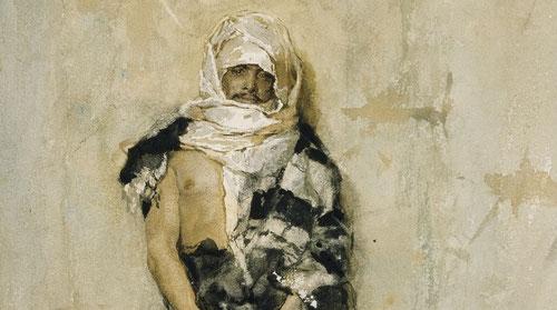 Fortuny. Un marroquí. 1869. Acuarela sobre papel. Museo Nacional del Prado. Figura de pie dispuesta frontalmente sobre un muro, una sutil paleta cromática de fondo y forma.Resolución cuidada,tintas grises suavidad en modelado en torso y rostro.