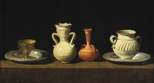Zurbarán.Bodegón con cacharros,1650-55.Museo Nacional de Arte.Cataluña.Considerado un género menor frente a pintura religiosa.Hay dos ejemplares, el otro 2cm mayor pertenece al M.Prado.