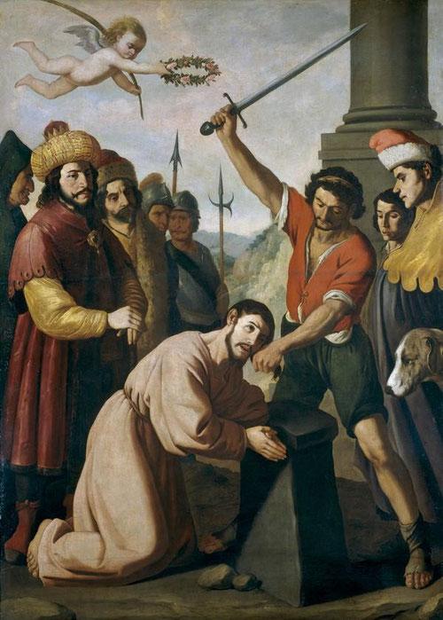 El martirio de Santiago,1636-40.Museo del Prado,252x186cm. La devoción de los mártires cristianos según directrices tridentinas, como la degollación del Patron español, apóstol Santiago en Jerusalen sobre el año 44.