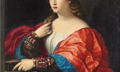 """Palma el Viejo.Retrato de una mujer joven llamada """"La bella"""",1518-1520.Óleo sobre lienzo.95x80cm.Madrid.Museo Thyssen.Obra paradigmática colores suntuosos.Valor simbólico de """"vanitas"""" que nos invita a hacer una reflexión sobre lo efímero de la belleza."""